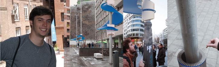 Alexander D'alessio junto a tres imágenes en las que se observa con detalle su proyecto Spira.